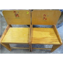 LOT OF 2 CHILDREN'S MATCHING DEER CHAIRS (WOOD) *VINTAGE*