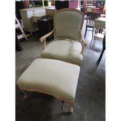 LEARGE PEACH COLORED FABRIC AND WOOD CHAIR W/ FOOT STOOL