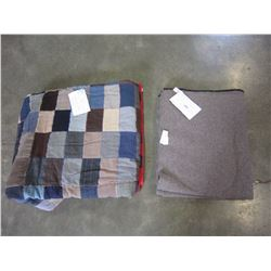 "VERY OLD QUILT 70 x 83"" AND ANTIQUE GREY WOOL BLANKET 60 x 100"""