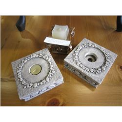 LOT OF HAND CAST STONE CANDLE HOLDERS - MADE IN BRITISH COLUMBIA