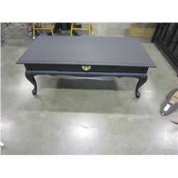 BLACK PAINTED 1 DRAWER QUEEN ANNE STYLE COFFEE TABLE