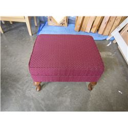 RED FABRIC FOOT STOOL W/ WOODEN LEGS