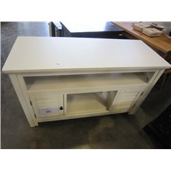 ASHLEY FLOOR MODEL WHITE TV STAND TV STAND - COSMETIC DAMAGE ON TOP