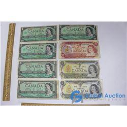 (8) Canadian Dollar Bills, (1) Two Dollar Bill