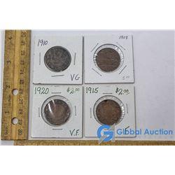 (4) Large Canadian Cent Coins (George V)