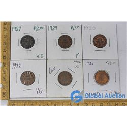(6) Canadian One Cent Coins