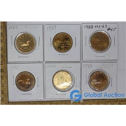 (6) Canadian One Dollar Coins