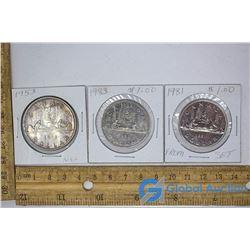 (1) Silver Dollar (NSF) & (2) Nickel Dollars
