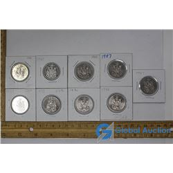 (9) Canadian Nickel Fifty Cent Coins