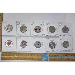 (10) Canadian 25 Cent Pieces
