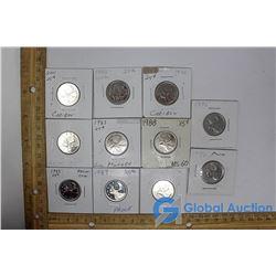 (11) Canadian 25 Cent Pieces
