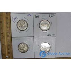 (4) Canadian 25 Cent Silver Pieces