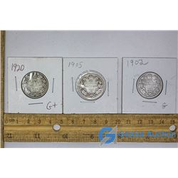 (3) Canadian 25 Cent Silver Pieces