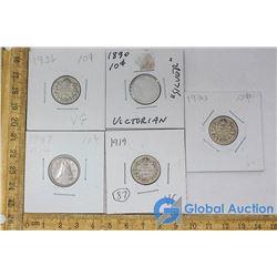(5) Canadian 10 Cent Pieces