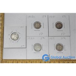 (5) Canadian 5 Cent Silver Pieces