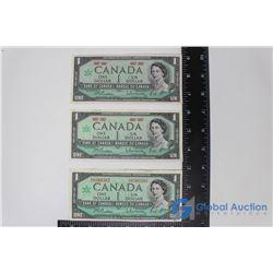 (3) Centennial $1 Bills 1867-1967 - One w/ Serial Number