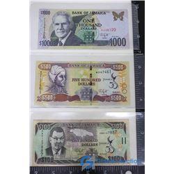 (3) Jamaican Dollar Bills - $100; $500; $1000