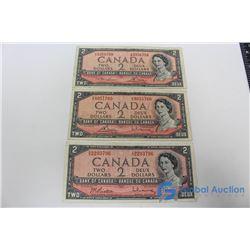 (3) 1954 $2 Bills - 3 Different Signatures