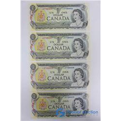 (4) Consecutive Uncirculated 1973 $1 Bills