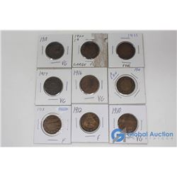(9) Canadian Large 1 Cent Coins