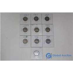 (10) Canadian 5 Cent Coins
