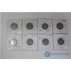 (8) Canadian 5 Cent Coins - George V