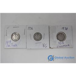 (3) Canadian 10 Cent Silver Coins - 1919; 1936 & 1938