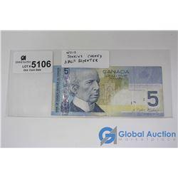 2010 3 Digit Repeater Five Dollar Bill