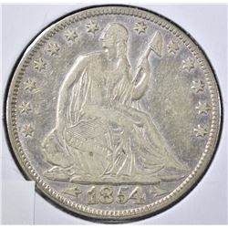 1854 WITH ARROWS SEATED HALF DOLLAR, VF+