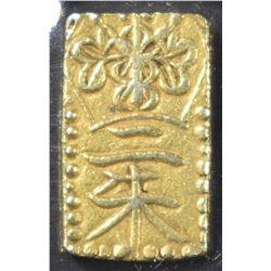 1832-1858 GOLD SAMURAI BAR JAPAN AS STRUCK
