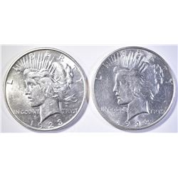 (2) 1923-D PEACE DOLLARS   AU/BU