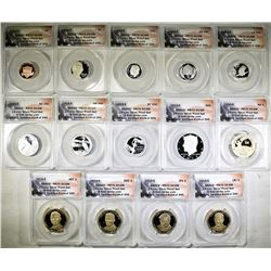 2015-S 14-COIN SILVER PROOF SET  ANACS PR-70 DECAM