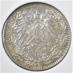 1914 J SILVER 1/2 MARK GERMANY