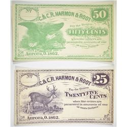 1862 25 CENT & 50 CENT HARMON & ROOT