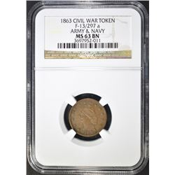 1863 CWT ARMY & NAVY  NGC MS-63 BN