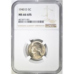 1940-D JEFFERSON NICKEL, NGC MS-66 6-FS