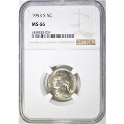 1953-S JEFFERSON NICKEL, NGC MS-66
