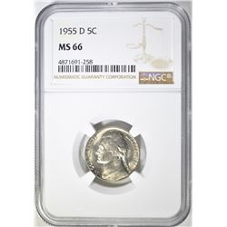 1955-D JEFFERSON NICKEL, NGC MS-66