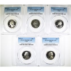 5-CLAD 1976-S WASHINGTON QUARTERS, PCGS PR-69 DCAM