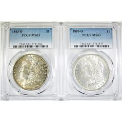 1883-O & 1885-O MORGAN DOLLARS BOTH PCGS MS-63