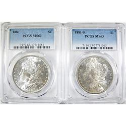 1881-S & 1887 MORGAN DOLLARS BOTH PCGS MS-63