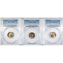 (3) ROOSEVELT DIMES  ALL PCGS GRADED: