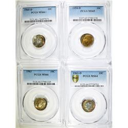 (4) ROOSEVELT DIMES  ALL PCGS GRADED: