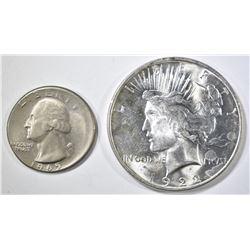 1922 PEACE DOLLAR BU & 1965 WASHINGTON