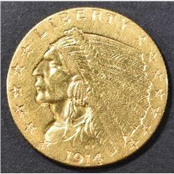 1914-D GOLD 2.5 INDIAN  BU