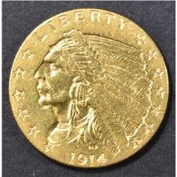 1914 GOLD 2.5 INDIAN BU