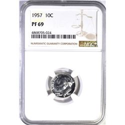 1957 ROOSEVELT DIME, NGC PF-69