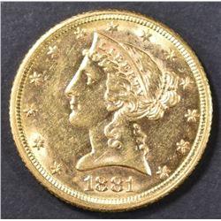 1881 $5 GOLD LIBERTY CH BU
