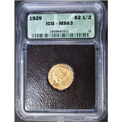 1929 $2.5 GOLD INDICAN ICG MS-63