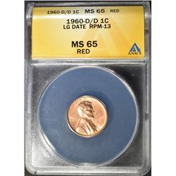 1960-D/D LG DATE LINCOLN CENT  ANACS  MS-65 RD